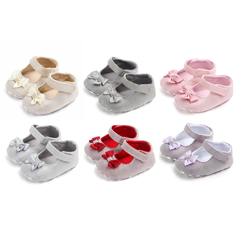 2019 Baby Girls Princess Shoes Infant Toddler Crib Baby Kids First Walkers Big Bow Soft Soled Anti Slip Shoes