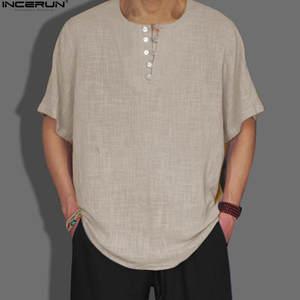 0563eeed INCERUN 2018 Short Sleeve Cotton Linen Shirts Men Casual