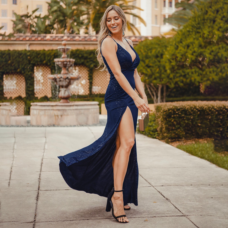 Ever Pretty 2019 Sexy Navy Blue Prom Dresses Sexy V-Neck Sparkle Leg Slit Long Simple Elegant Formal Party Gowns Abendkleider