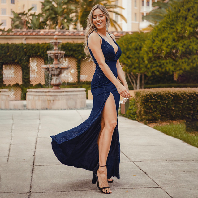 Ever Pretty 2020 Sexy Navy Blue Prom Dresses Sexy V Neck Sparkle Leg Slit Long Simple Elegant Formal Party Gowns Abendkleider
