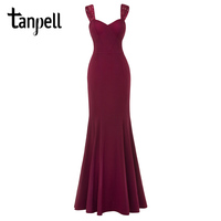 Tanpell Mermaid Evening Dress Burgundy Spaghetti Strap Floor Length Dresses Cheap Women Sleeveless Party Prom Long