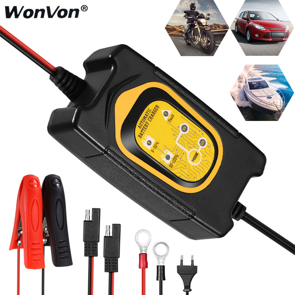 Battery Charger 6V 12V for Auto Car Motorcycle Lawn Mower Lead Acid Batteries US