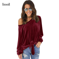 Velvet Top 2017 T Shirt Women Autumn Long Sleeve Fashion American Apparel Off Shoulder Tie Up