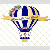 custom royal prince themed hot air balloonroyal flower leaves backgrounds High quality Computer print party backdrop
