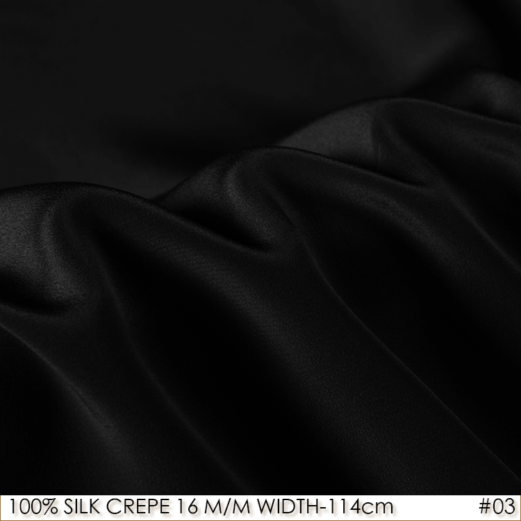 SILK CREPE DE CHINE 114cm width 16momme/100% Pure Mulberry Silk Matt Color Women Evening Dress Fabric Black NO 03SILK CREPE DE CHINE 114cm width 16momme/100% Pure Mulberry Silk Matt Color Women Evening Dress Fabric Black NO 03