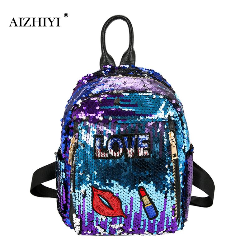 Women Bling Sequins Backpack Fashion Solid School Bags For Teenager Girls Casual Preppy Style Lips Women Backpacks 31x25x9cm women sequins backpack female fashion bling bling children backpacks mini bags ladies casual shoulder bags for teenager girls