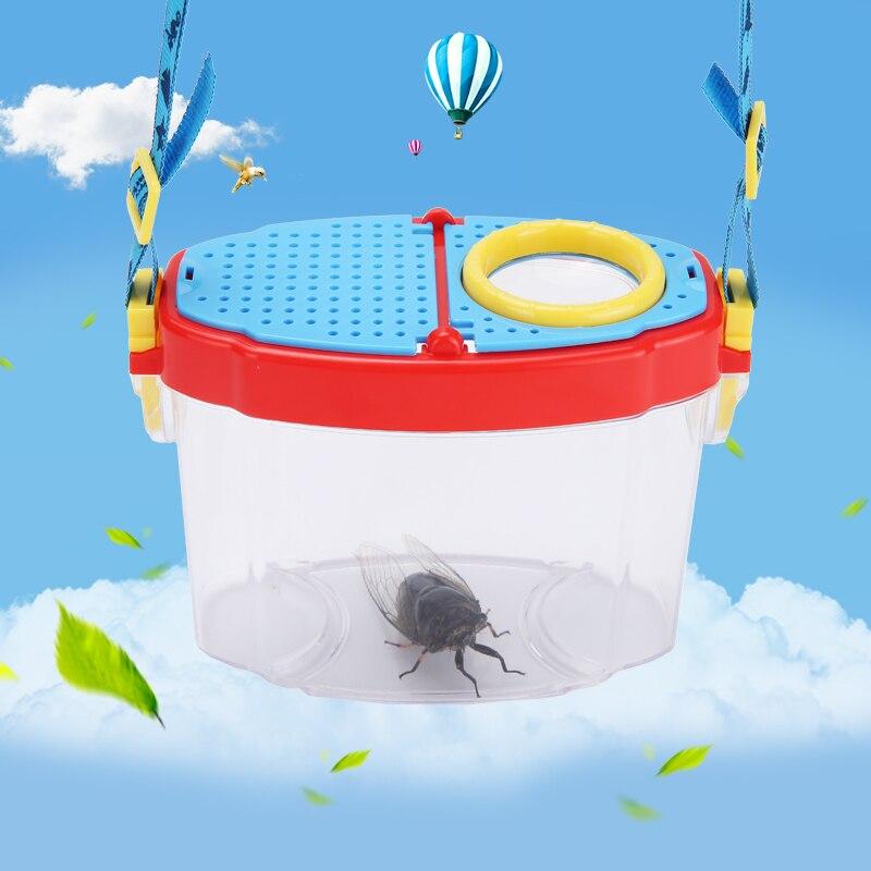 AOMEKIE 5X Loupe Boîte En Plastique Insectes Qui Se Nourrissent Outil Enfants D'intérêt Développement Biologique Observation Jouet Enfants Cadeau