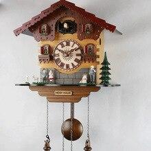 Модные деревянные детские настенные часы с принтом «cuckoo», будильник с пением птиц