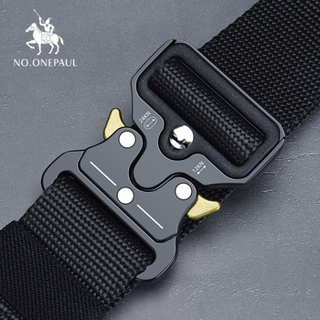 Tactical Military high quality Nylon men's training belt metal multi-functional buckle outdoor sports hook new