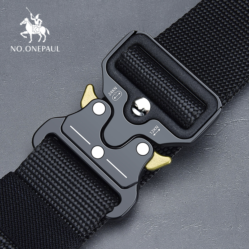 NO.ONEPAUL Tactical belt Military high quality Nylon men's training belt metal multifunctional buckle outdoor sports hook new