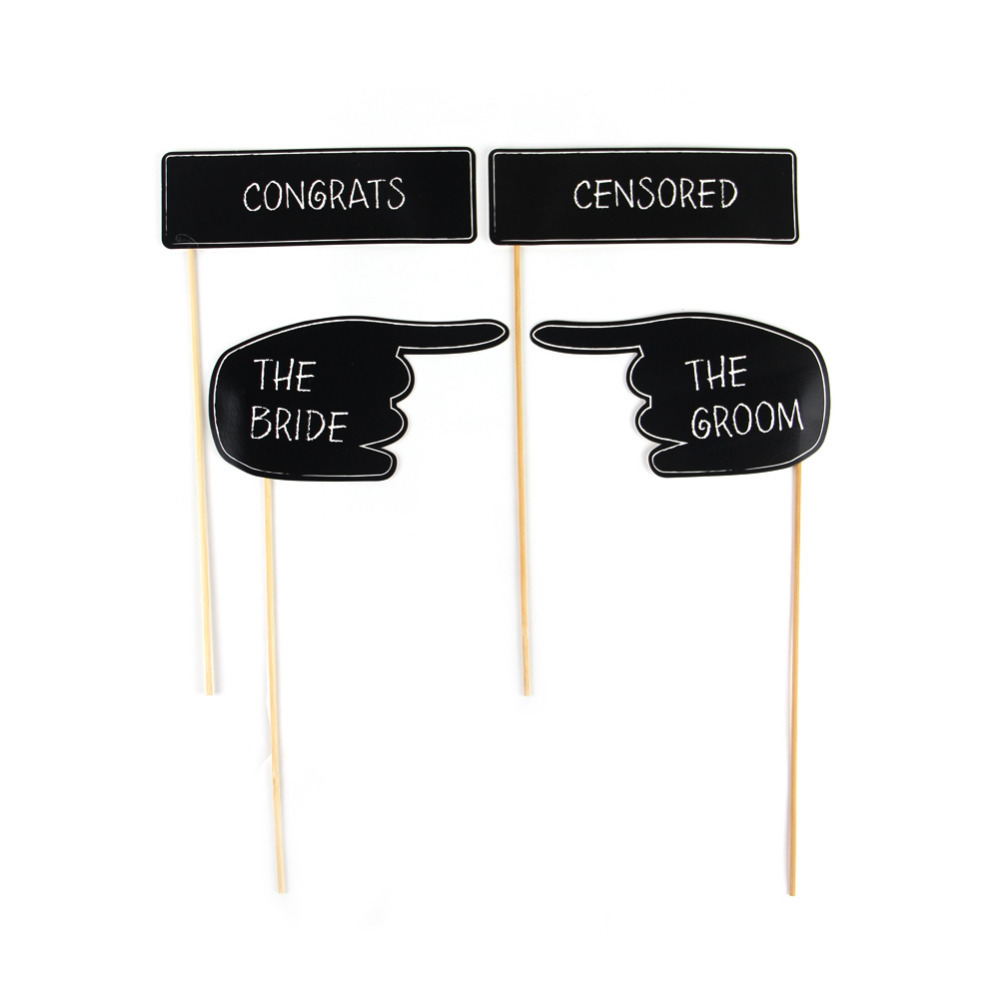 Pack of 12 Funny Wedding Photo Booth Props Kit Chalkboard Style Photo Props on a Stick Engagement Party Wedding Signs Supplies