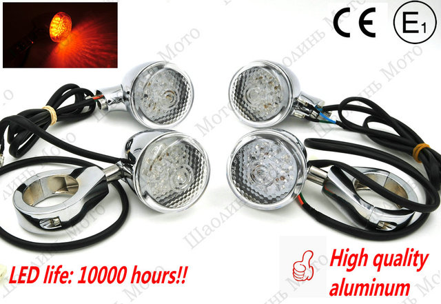 1 SET 12V0.5W Aluminum vintage CAFE RACER Front Rear Motorcycle LED Turn Signal Light 41mm Fork Clamp for harley Free shipping