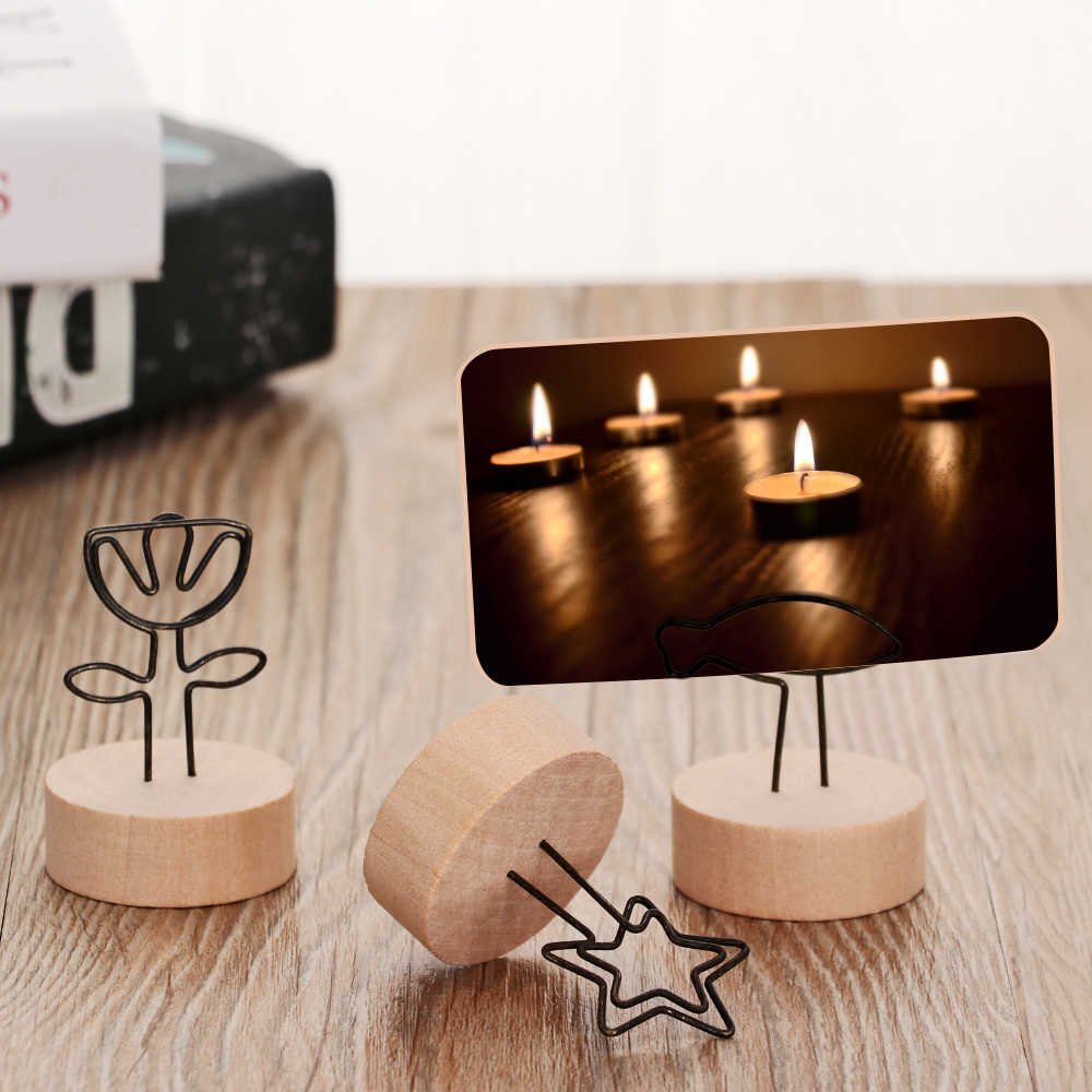 1PC Creative Round Wooden Photo Clip Memo Name Card Pendant Holder Note Articles Picture Frame Table Number Wedding Photo Holder