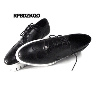 Image 5 - Oxfords Genuine Leather Creepers Spring Men Shoes Handmade Casual Platform Black Big Size Wingtip Brogue Luxury Deluxe Real