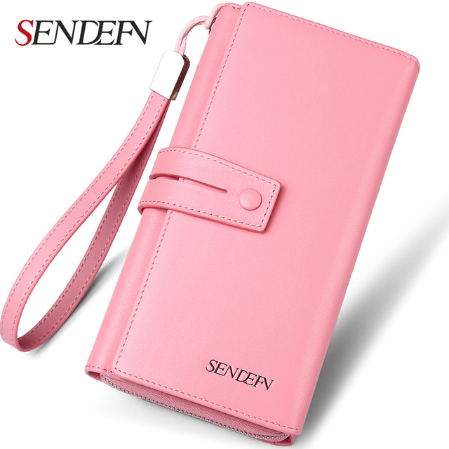 SENDEFN Brand Multifunction Genuine Leather Women Wallet Long Lady Clutch Card Holder Wallet Female Phone Pocket Purse PT0601