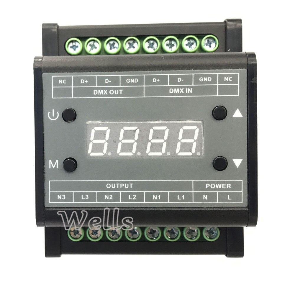 DMX302 светодио дный DMX симисторный Яркость контроллер AC90V-240V Выход 3 канала 1A/CH высокого напряжения светодио дный диммер для светодио дный свет...