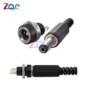 10PCS DC Power Connector pin 2.1x5.5mm Female Plug Jack + Male Plug Jack Socket Adapter PCB Mount DIY Adapter Connector 2.1X5.5(China)