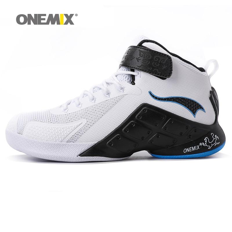 ONEMIX Homme de Basket-Ball Chaussures Pour Hommes Belle Classique de Sport de Basket-Ball Bottes Formateurs Blanc Sport Chaussures de Marche En Plein Air Sneakers