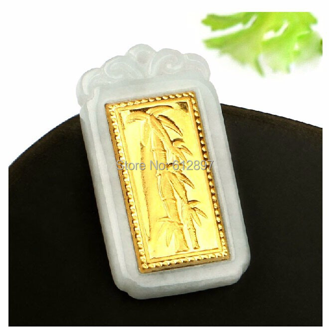 Hot sale 100% Natural Jadeite new 24K Yellow gold oblong Bamboo Pendant With Certificate