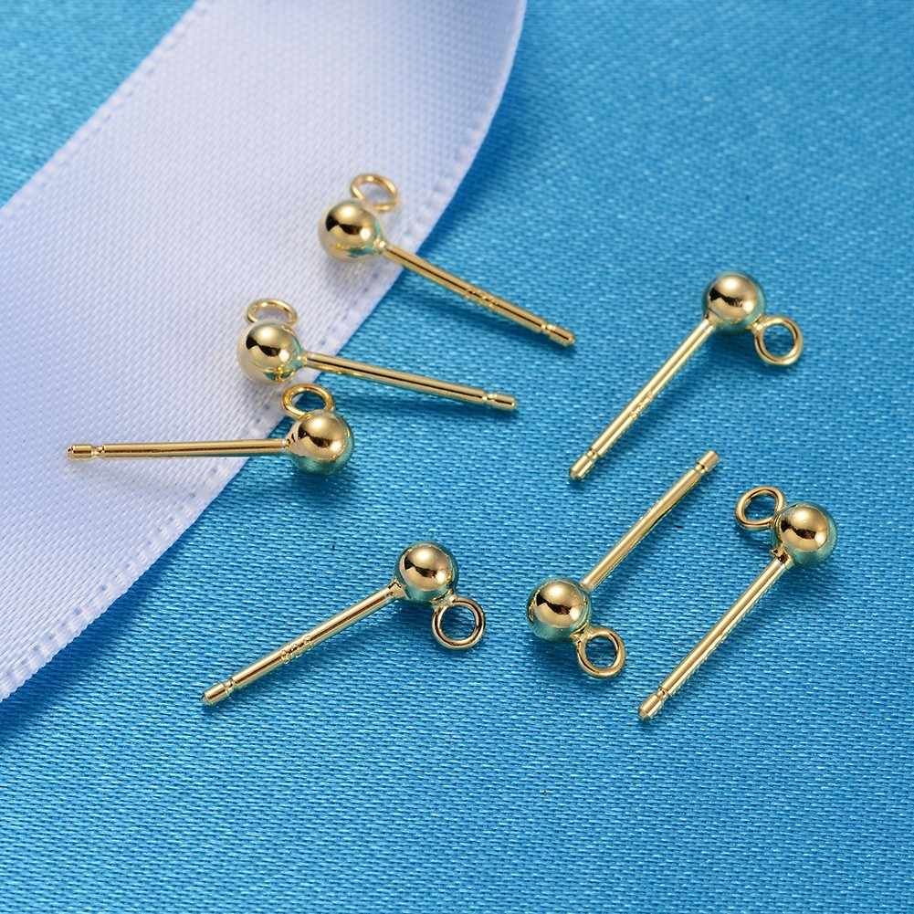 cheap jewelry 2019 hot new Wholesale Silver Ear Nail Accessories Beans With Ring Earrings Needle Gold Diy Jewelry Accessories
