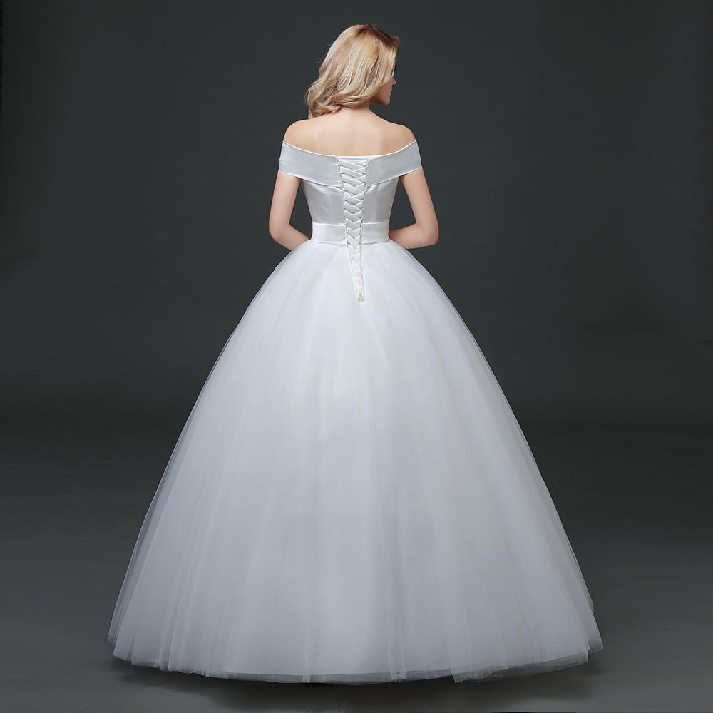 CEEWHY Boat Neck Back Lace up Wedding Dresses Korean Style Floor ...