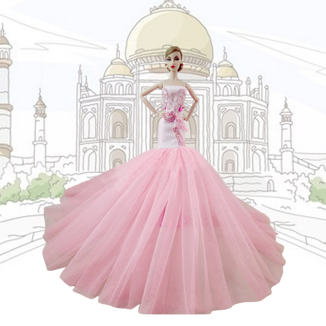 d0db9ca2bfa6 Beautiful Elegant Girl Doll Toys Party Wedding Princess Pink Dresses Gown  Outfits Doll Accessories for Barbie Toys Girls Gift