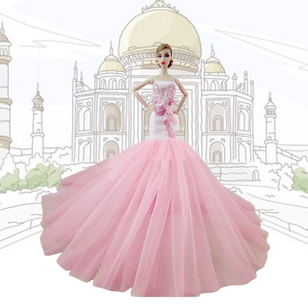 Satkago Elegant Girl Doll Toys Party Fishtail Dresses Gown Outfits Doll Accessories for Barbie Toys Girls Birthday Gift Pink