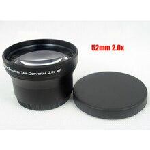 BON CREATION 52mm 2.0x TELE Telephoto Lens for Digital Camera DSLR 52 2.0 Black Camera Lens + Lens Bag + Lens Cover
