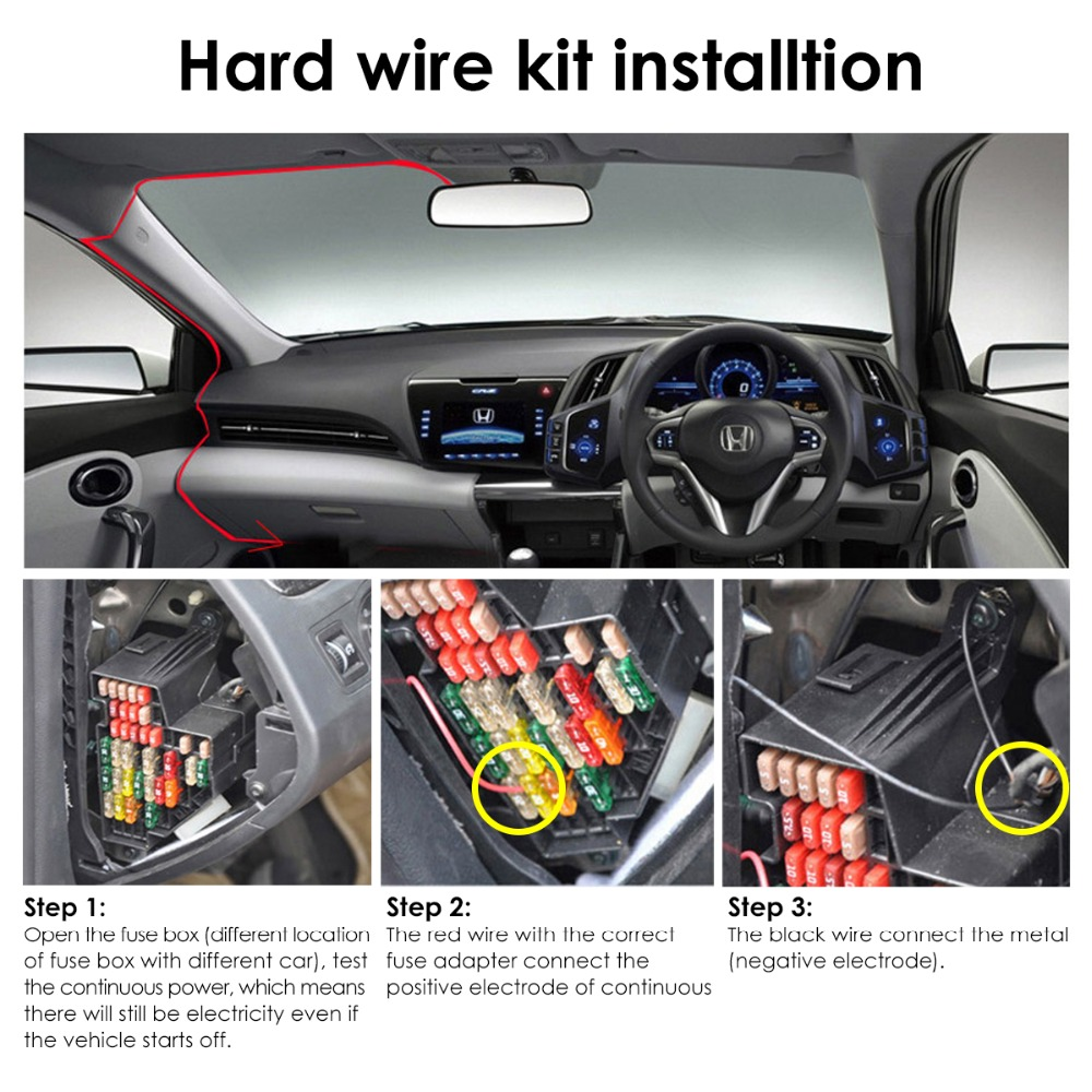 vantrue dash cam hardwire kit 12 24v to 5v mini usb circuit fuse holders [ 1000 x 1000 Pixel ]
