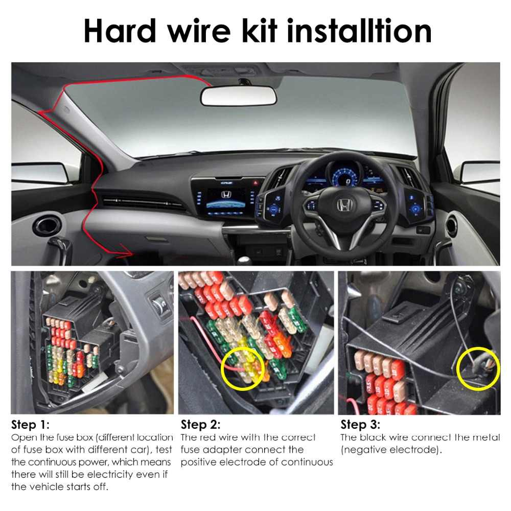 hight resolution of  vantrue dash cam hardwire kit 12 24v to 5v mini usb circuit fuse