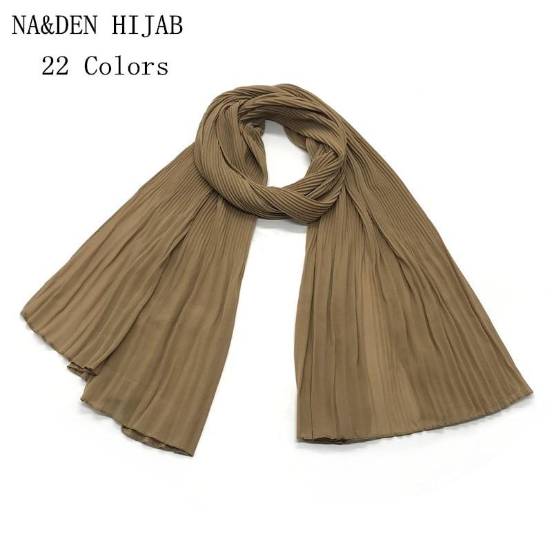 2019 new Chiffon pleated shawls elegant shawl plain maxi muslim hijab woman scarf scarves pashmina bandana