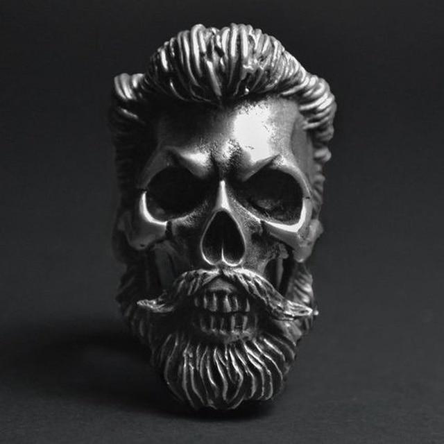 Cool Men's Bearded Mustache Gentleman Skull Rings 316 L Stainless Steel Punk Biker Jewelry Silver Color by Ali Express