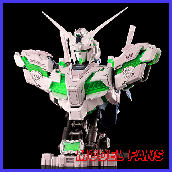 MODEL FANS INSTOCK YIHUI model assembly Gundam unicorn green bust model 1:35 contain led light action figure toy cmt instock dragon momoko 1 60 pg unicorn gundam rx 0