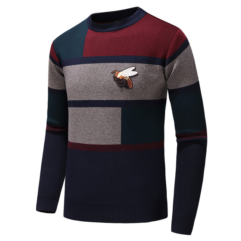 New 2019 Men Luxury Winter Gentleman Embroidery Bees Stripe Knit Casual Sweaters Pullover Asian Plug Size High Quality Drake H64