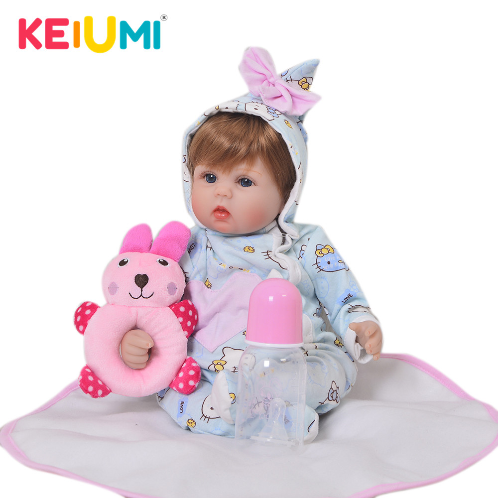 KEIUMI 17 Inch Lifelike Reborn Girl Doll Soft Silicone 42 cm Cotton Body Realistic Baby Toy Ethnic Doll For Kids Birthday Gifts