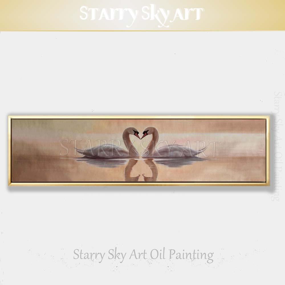 Beau mur Art artiste peint à la main amant cygnes dans lac peinture à l'huile sur toile Super longue toile animaux cygnes peinture à l'huile