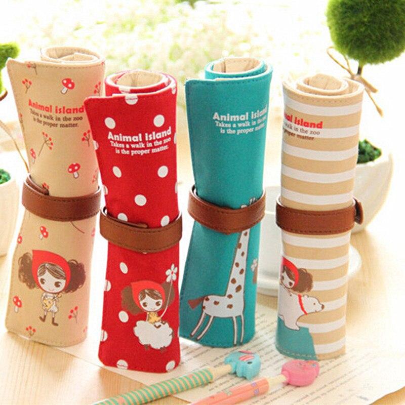 Cute Cartoon Roll Up Canvas Pencil Bag Pen Case Brushes Wrap Pouch Pen Pocket, Pencil Bag- Canvas School Supplies