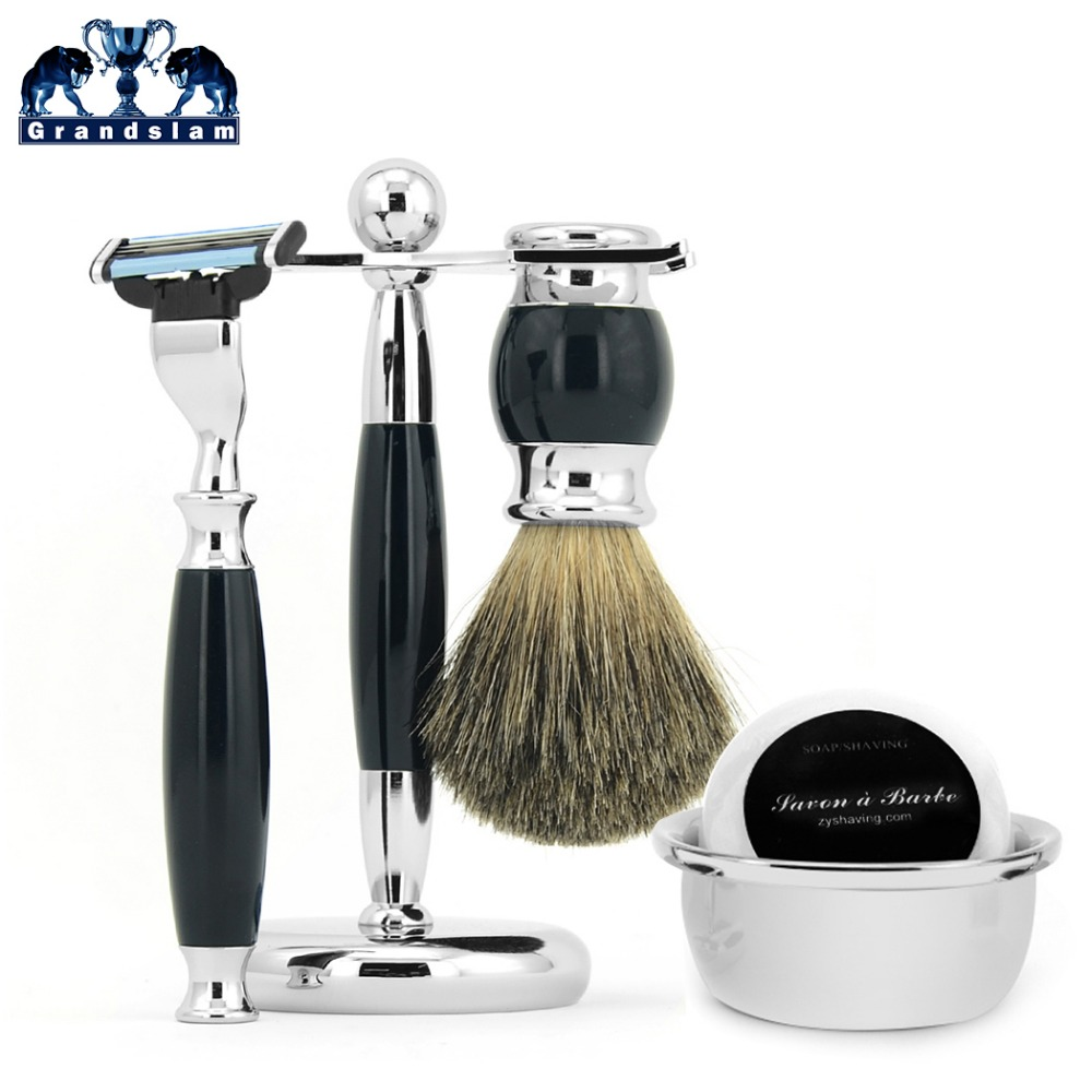 Grandslam Men Blade Razor Kit Safety Shave Razor Badger Hair Razor Brush Razor Stand Shave Bowl Mug Beard Shaving Soap Shave Set