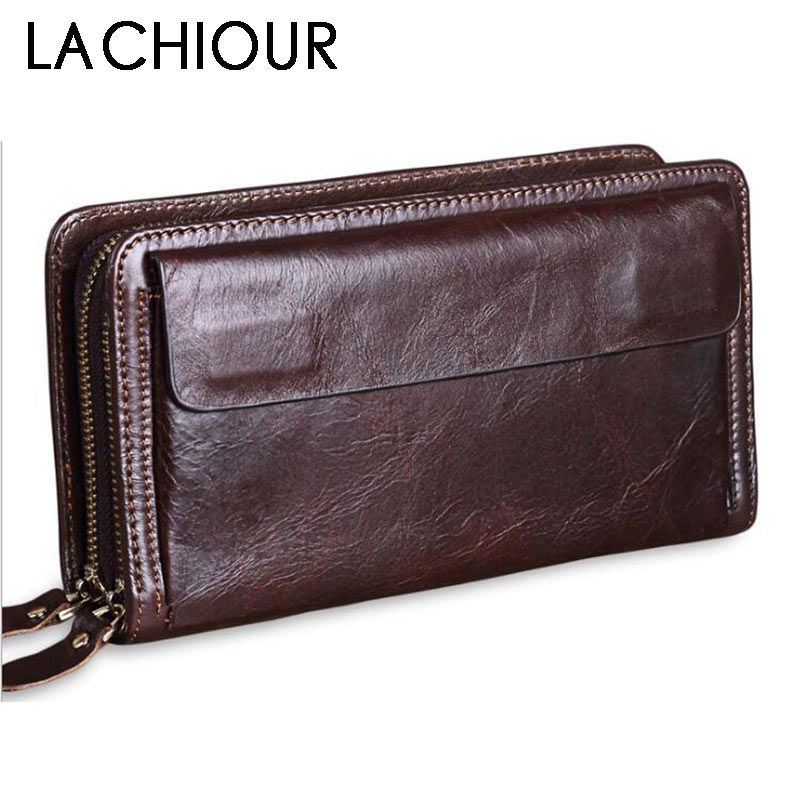 Business Genuine Leather Clutch Wallet Men Long Leather Phone Bag Purse Male Large Size Handy Coin Wallet Card Holder Money Bag fasiqi crocodile leather wallet soft skin fashion man wallet long wallet multi card money clip hand bag male business leather