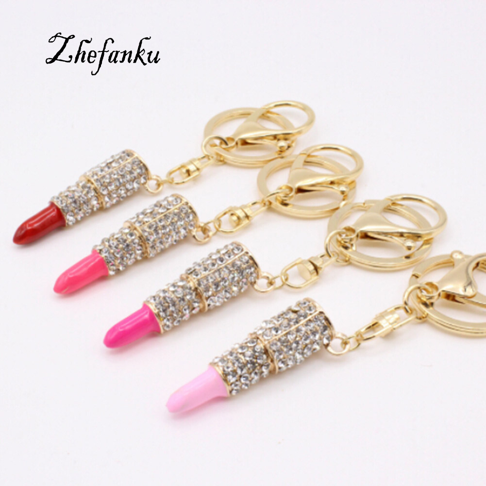 Women Jewelry 5 Colors Charm Crystal Keychain Lipstick Key Holder Rhinestone Keyring  Red Rose Pendant Key Chain Rings