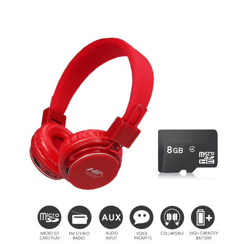 Economic Set: Original NIA 8820 + 8 GB Micro SD Card a Set Multifunctional Wireless Headphone mp3 player with FM SD Card slot economic set original nia q1 8 gb micro sd card a set bluetooth headphone wireless sport headsets foldable bluetooth earphone