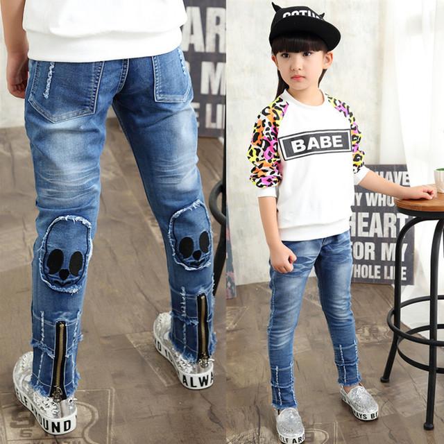 De la muchacha individualidad moda skinny jeans primavera otoño de los bebés frescos jeans niños jeans impresos niños pantalones pantalones casuales de vaquero