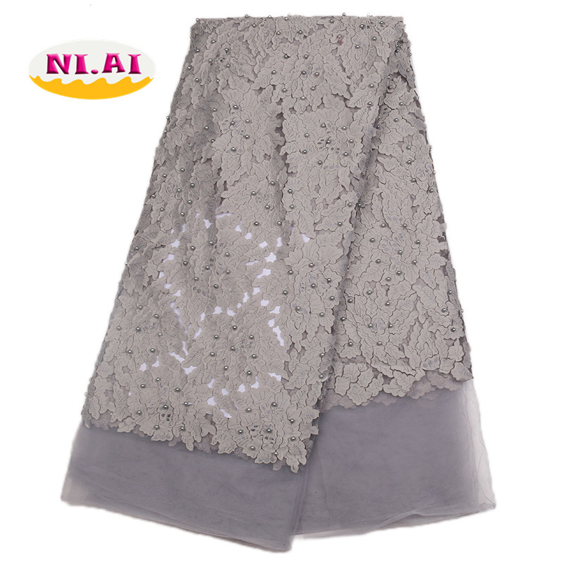 Chiffon Lace African Beaded Fabric Pearls Dresses Lace For Women Nigerian Embroidery Fabric Best African Wedding