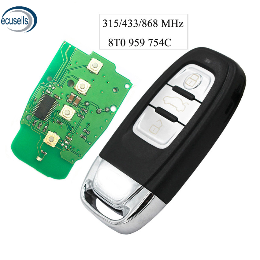 Horande Replacement Key Fob Case fits for Audi A1 A3 A4 A5 A6 A7 A8 Q5 Q7 R8 S5 S7 Q5 RS Smart Keyless Entry Key Shell Fob Cover 3 Buttons