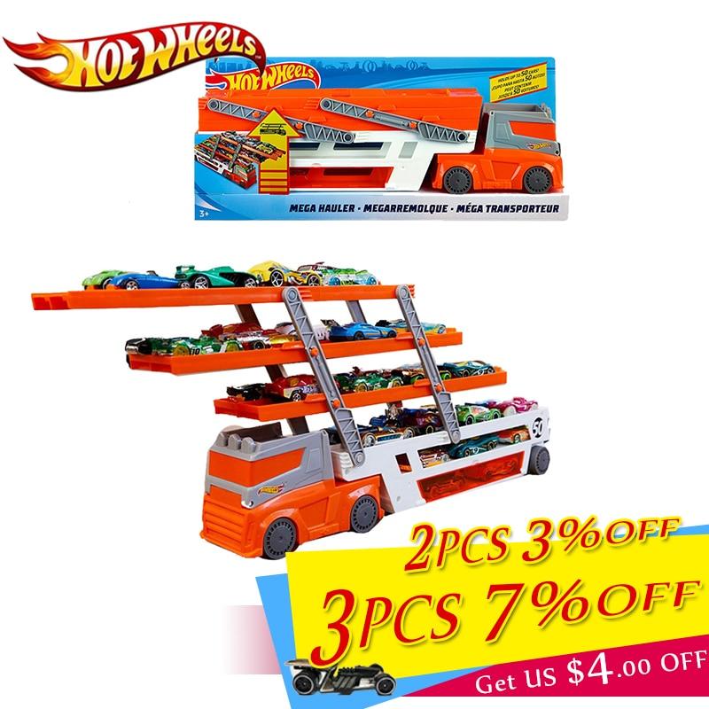 Original Hotwheels Brand Track Toy Heavy-duty Transporter Can Hold 50 Cars Hot Wheels Hauler Truck Toy Caminhao De Brinquedo