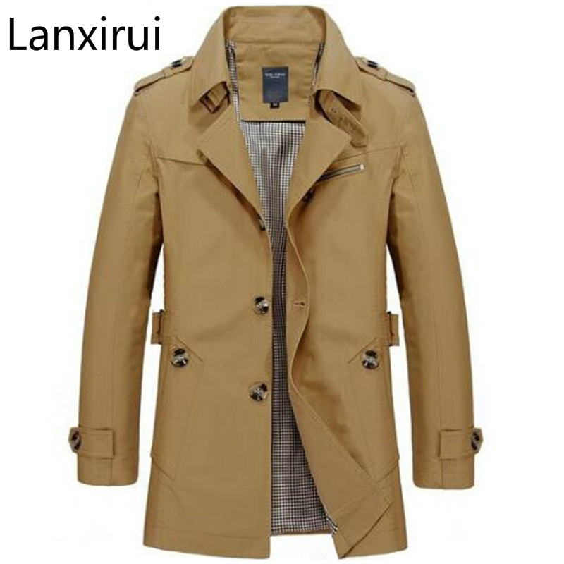 Fashion Men Are Upscale In Winter Slim Fit Casual   Trench   Coat /Male Pure Color Pure Cotton Long Jackets