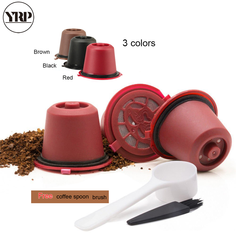 3pcs reusable refillable nespresso Coffee sweet filter Capsule With Spoon and brush no Dolce Gusto tools Accessories Nestle Cafe