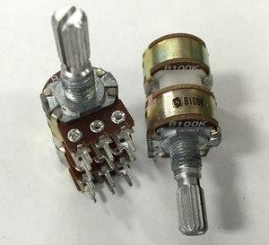 1 шт. 16 типов потенциометра 4 B100K * 4, длина оси 20 мм, усилитель мощности, многоканальный потенциометр громкости