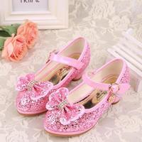 HaoChengJiaDe Glitter Children Girls High Heel Shoes For Kids Princess Sandals Bowtie Knot Infant Baby Girls