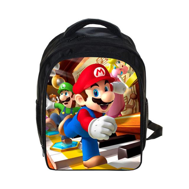 Nueva Venta Caliente Fresca Chlidren Bolsos de Escuela de Dibujos Animados Mario Impresión Mini Mochila Para Niños Pequeños Niños Niñas Schoolbag